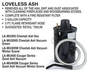 Fireplace & Wood Stove Ash Vacuum Cleaner With FREE SHIPPING